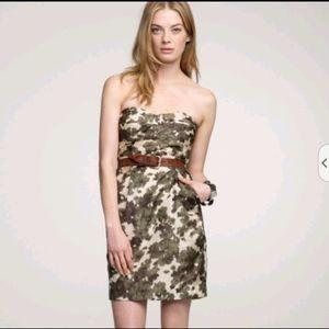 J.Crew Floral Camo Silk Strapless Dress Pockets 2